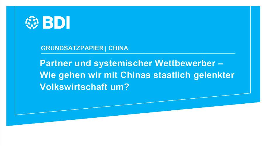 BDI veröffentlicht Grundsatzpapier China