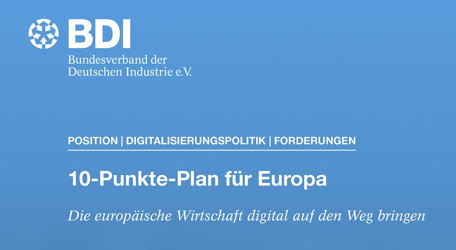 Europäische BDI-Kernforderungen im Bereich Digitalisierung